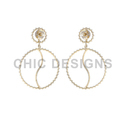 Round Gold Dangle Earrings