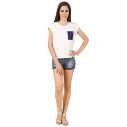 White Cotton Jersey Ladies Top