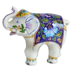 Blue Pottery Elephant