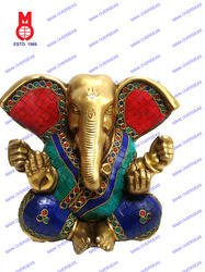 Lord Appu Ganesh Big Ears W/Stone Work Statue