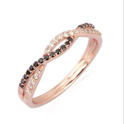 Pave Diamond 14K Rose Gold Band Ring