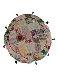 Round Floral Embroidered Cotton Cushion Cover