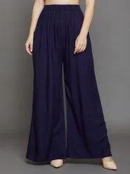Regular Skin Fit Plain Rayon Palazzo Pants  for Women's