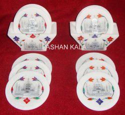 Taj Mahal Design Inlaid Marble Coaster