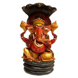 Hand Made Wooden Antique Naag Ganesha Statue
