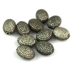 Pave CZ Stone Setting Oval Shape Beads 14x10mm