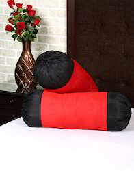 Red Polydupion Solid Yarn Dyed Bolster Pillow Cover