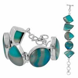Secret Design Striped Onyx Sterling Silver Bracelet