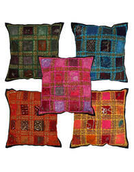 Sequins Work Colourful 100% Cotton Patchwork Cushion Cover
