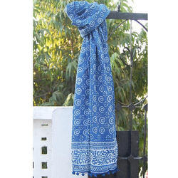 Blue Hand Block Printed Scarf
