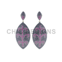 Gemstone Pave Marquise Earrings