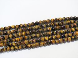 Tiger Eye Round Natural Stone Bead Strands