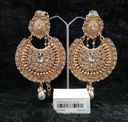 Kundan Pearl Chandbali Earrings