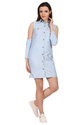 Designer Cold Shoulder Denim Dress