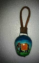 Iron Painted Elephant Bell Hanging