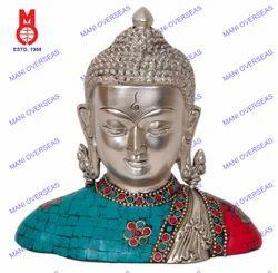 Buddha Bust W/ Kundals & Stone Work Statue
