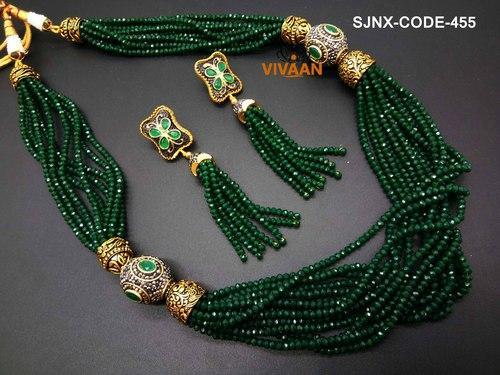 Traditional Wedding Wear Green Mala Necklace Set For Women