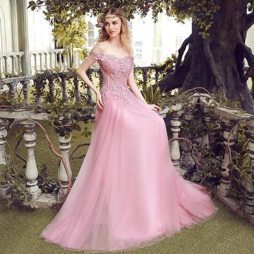 Women\'s Frocks - Sweet Pink Lace Embroidered Sweep Train Long Party ...