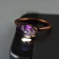 Raw Amethyst Gemstone Rings