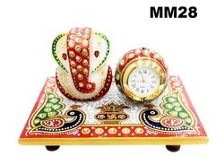Marble  Ganesh Chowki With Clock