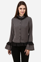 Womens Grey Ruffle Shirt