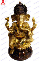 Lord Ganesh Sitting On Lotus Statue