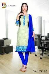 Light Green and Blue Silk Georgette Uniform Salwar Kameez