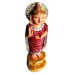 Wooden Standing Kiran Buddha Statue With Stone Work