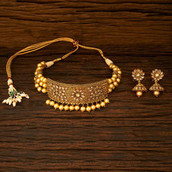 Fancy Gold Plated Choker Necklace - 15339