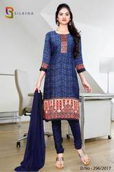 Blue Orange Silk Georgette Uniform Salwar Kameez