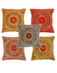 Multicolor Floral Mirror Work Cotton Square Cushion Cover Set Of 5
