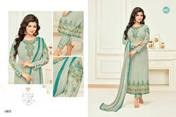 Grey Georgette Heavy Embroidered Women's Salwar Suit