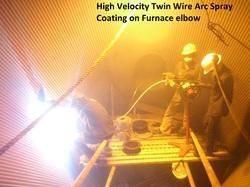 High Velocity Arc Wire Spray Coating On Furnace Elbow