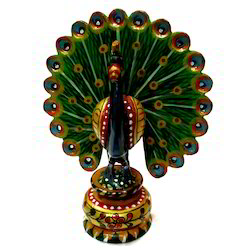 Wooden Painted Dancing Peacock