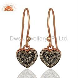 Pave Diamond Heart Design Drop Earrings