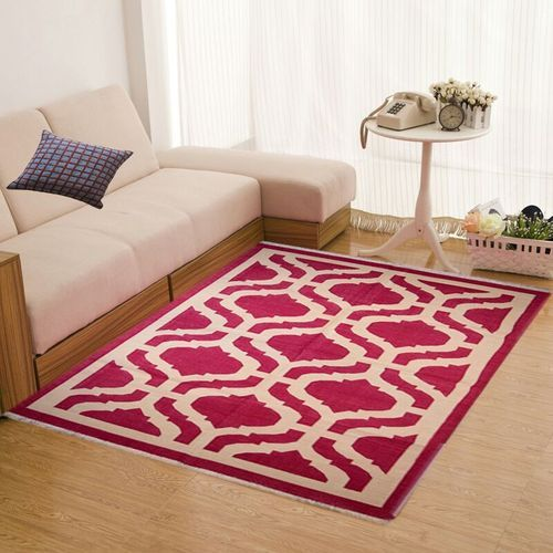 Cotton Punja Flat Weave Red And White Handwoven Dhurrie
