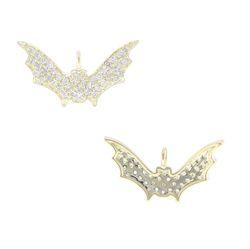 Pave Diamond Gold Bat Pendant
