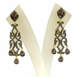 Pave Diamond Ruby Gemstone Sterling Silver Chandelier Earring