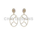 Pave Diamond Gold Earrings