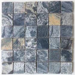 Silver Grey Polished Slate stone wall cladding Mosaic tile