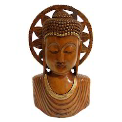 Hand Made Wooden Buddha Bust