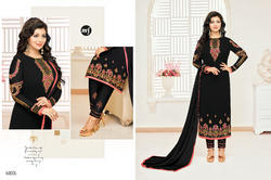 Black Georgette Heavy Embroidered Women's Salwar Suit