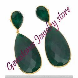 Green Onyx Long Dangle Earring