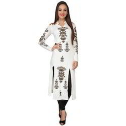 Ira Soleil Off-white Printed Viscose Knitted Stretchable