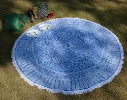 Blue Peacock Printed Lace Work Round Cotton Beach Towel