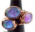 Massive Foil Glass Fire Opal Ring