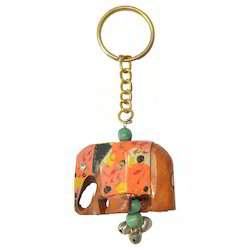 Wooden Elephant Painted Keychain