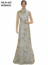 Latest Indian Net Gray Fluffy Long Dress Gown