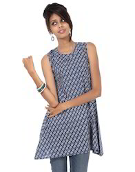 Blue Floral Printed Sleeveless Short Tunic Cotton Kurti