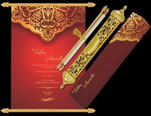 Royal Scroll Wedding Invites - Personalised Invitation Manufacturer from Rajkot